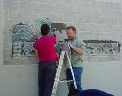 Connie Glover: Making a Community Mosaic 9 meshed mounted design in smaller managable pieces