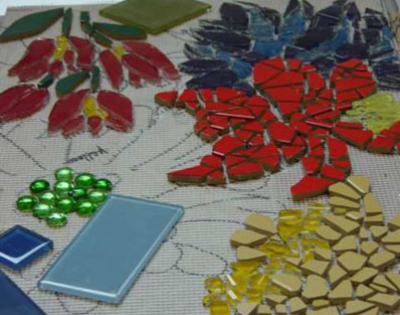 Connie Glover: Making a Community Mosaic 5 donated glass tiles