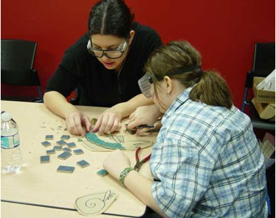 Connie Glover: Making a Community Mosaic 6 fitting tiles into traced image