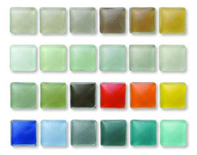 colorful slumped tiles