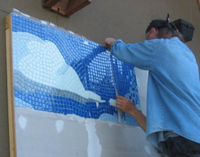 Bill Hoopes: Making a West Coast Mosaic 13 align meshed tile sheets